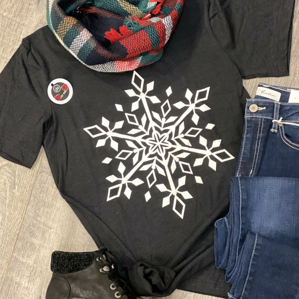 Kissed Apparel Black Snowflake Tee (S-3XL)
