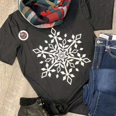 Kissed Apparel Black Snowflake Tee (S & XL Only)