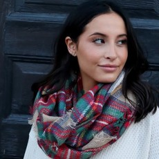 Panache Tan & Red Infinity Scarf