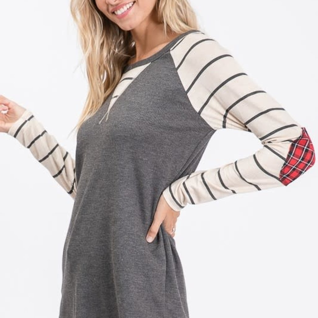 7th Ray Charcoal Stripe Top with Plaid Elbow Patch (S-XL)