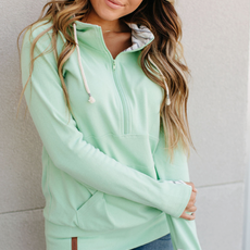 AMPERSAND AVE Mint Refresher Half-Zip Hoodie - Ampersand Ave (XL-3XL)