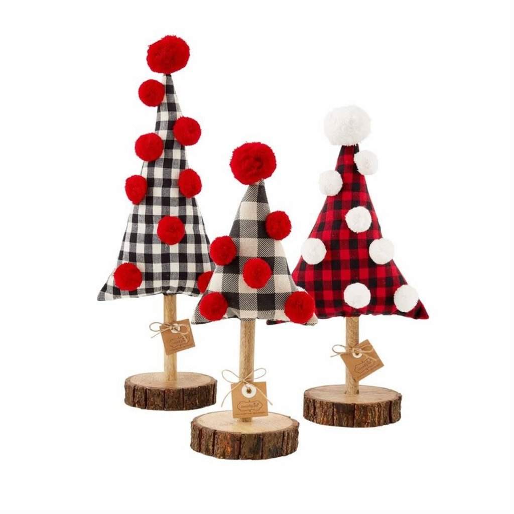 MUDPIE Buffalo Check Fabric Trees on Wood Stand (3 Sizes)
