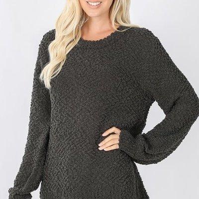 Zenana Ash Gray Popcorn Pullover Sweater  (S-3XL)