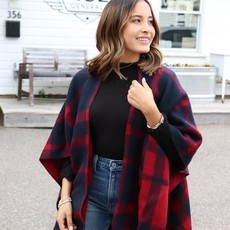 Panache Navy & Red Check Blanket Cape Poncho *DOOR BUSTER*