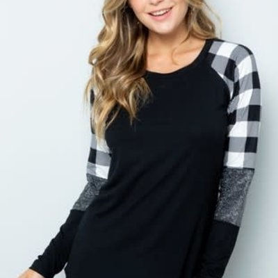 ACTING PRO Black Top with White Buffalo Sparkly Sleeves (S-3XL)