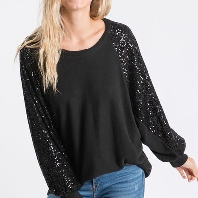 7th Ray Black Sequins Top (S-XL)