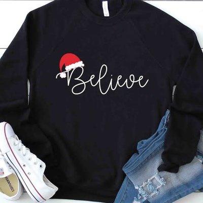Kissed Apparel Black Believe Santa Crew Sweatshirt (S-XL)