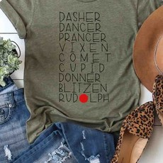 Kissed Apparel Heather Olive Reindeer Names Tee (Small Only)