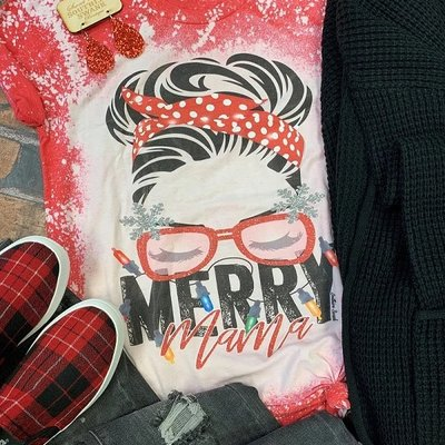 Southern Swank Red Bleached Merry Mama Tee (S-2XL)