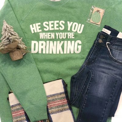 Ocean & 7th Green He Sees You When You're Drinking Crew (S-XL)