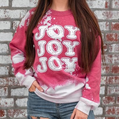 D&E Tees Bleached Red Joy Crew Sweatshirt (S-2XL)
