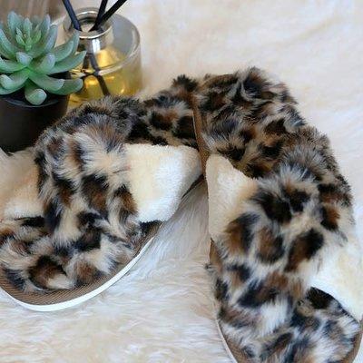 Wanna B Leopard Criss Cross Slippers