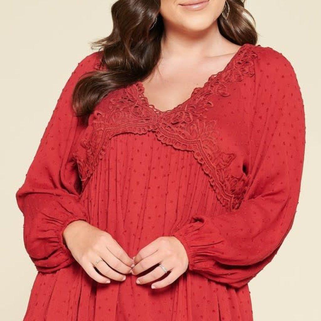 Oddi Red Crochet Lace Blouse (S-3XL)