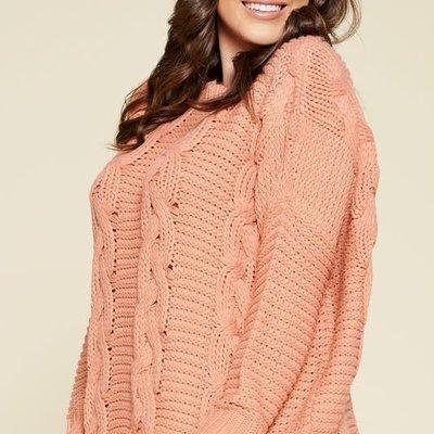 Oddi Peach Frayed Cable Knit Sweater (S-3XL)