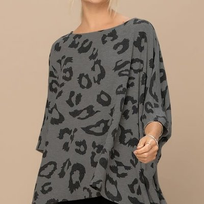 Oddi Charcoal Leopard Hacci Knit Tunic (S-3XL)