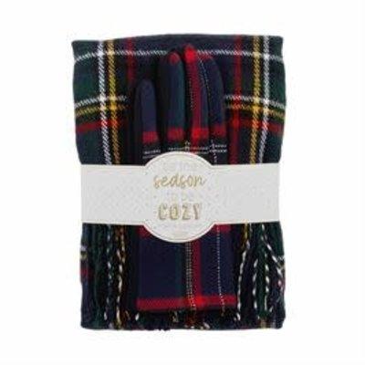 MUDPIE Mud Pie Tartan Scarf & Glove Holiday Gift Set - Navy