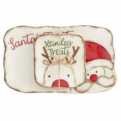 MUDPIE Mud Pie Farmhouse Santa Tray Set