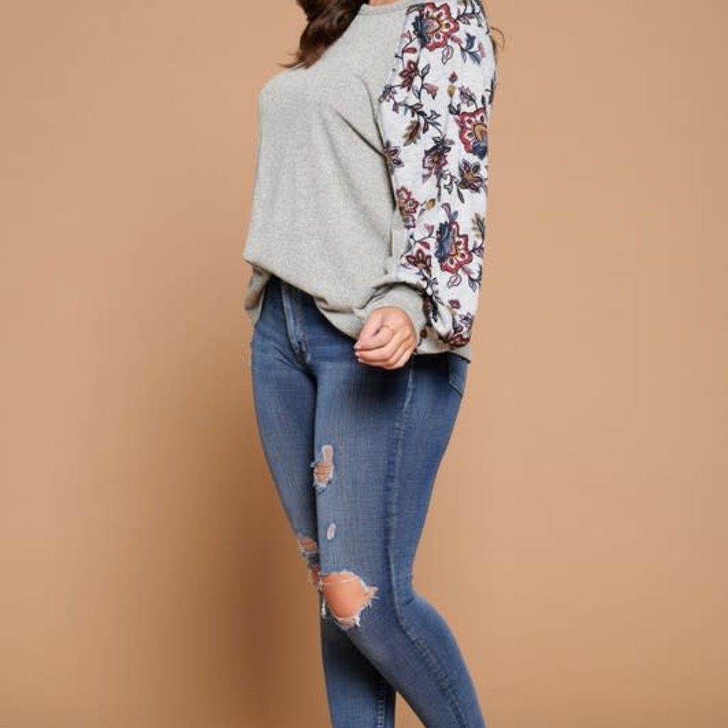 Oddi Heather Grey Floral Sleeve Top (S-3XL)
