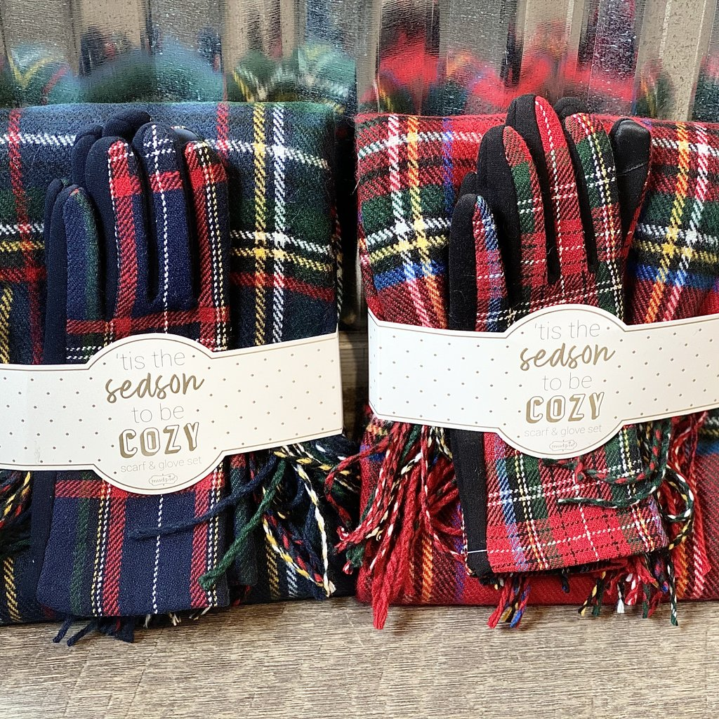 MUDPIE Mud Pie Tartan Scarf & Glove Holiday Gift Set - Navy