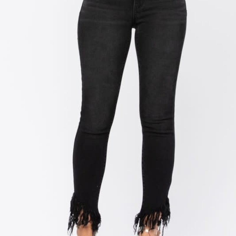 Judy Blue Judy Blue Black Mid-Rise Frayed Skinnies (18W Only)