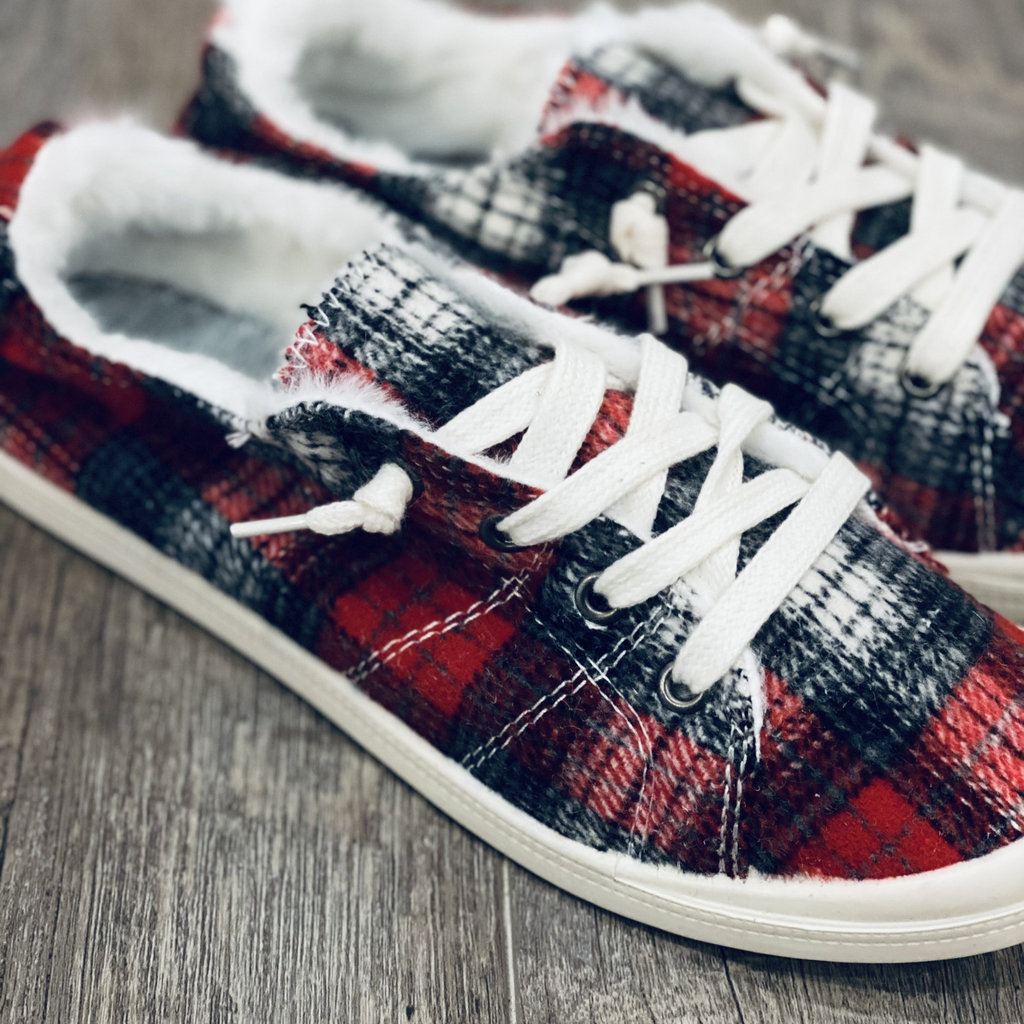 Forever Trendy Cozy Red Plaid Sneakers