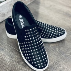 Insignia Black Studded Slip On Sneakers