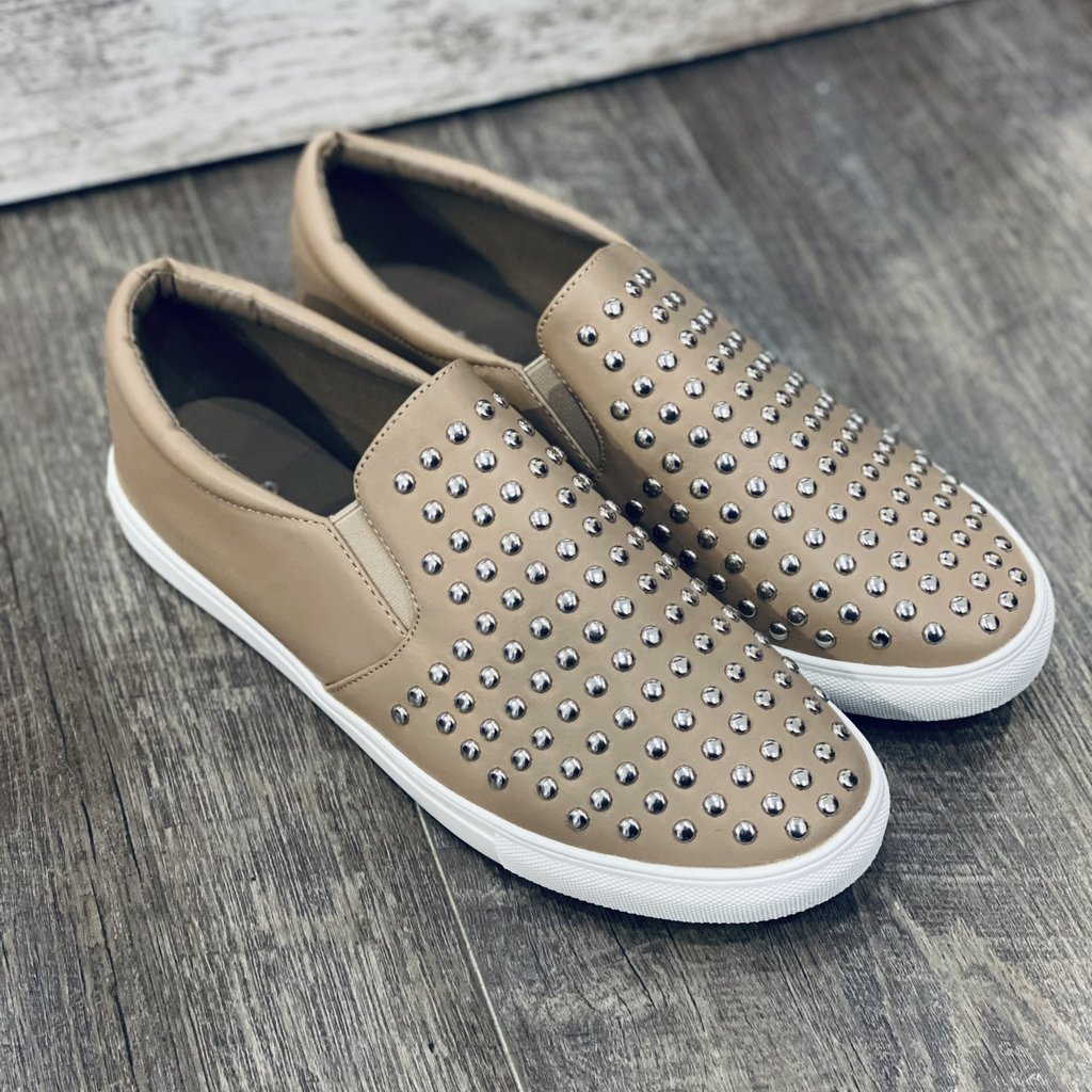 Insignia Taupe Studded Slip On Sneakers