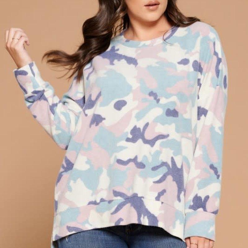 Oddi Teal Brushed Camo Hi-Lo Sweater (S-3XL)