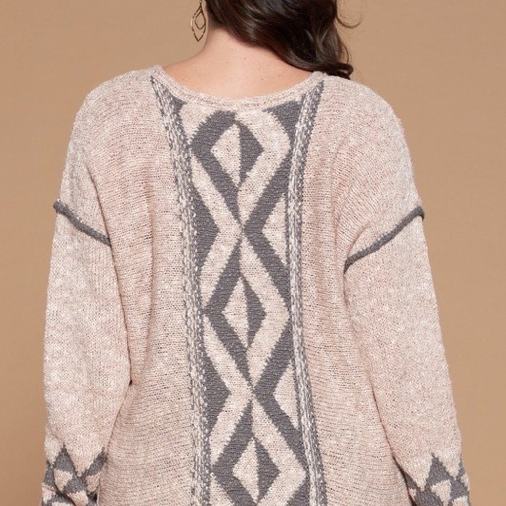 Oddi Mauve & Gray V-Neck Sweater (S-3XL)
