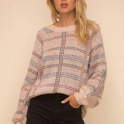 Hem & Thread Blush Speckled Plaid Sweater
