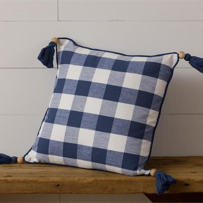 Audrey's Blue Buffalo Plaid Tassel Pillow