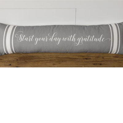 "Audrey's 34"" Start Your Day with Gratitude Lumbar Pillow"