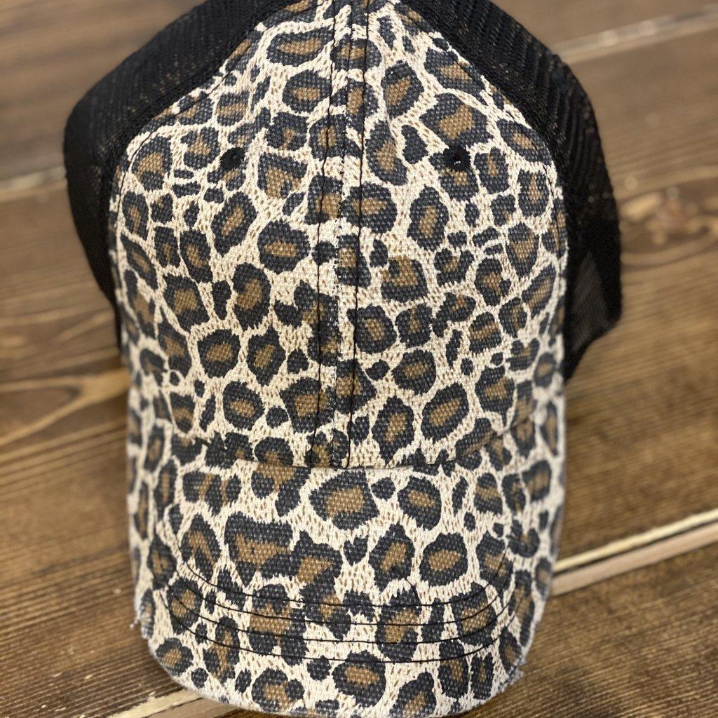 Ocean & 7th Leopard Black Mesh Snapback Hat
