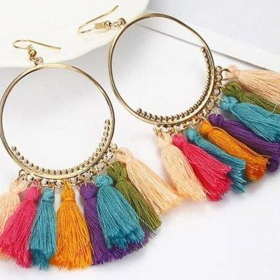 Ocean & 7th Boho Gold Rainbow Tassel Hoop Earrings
