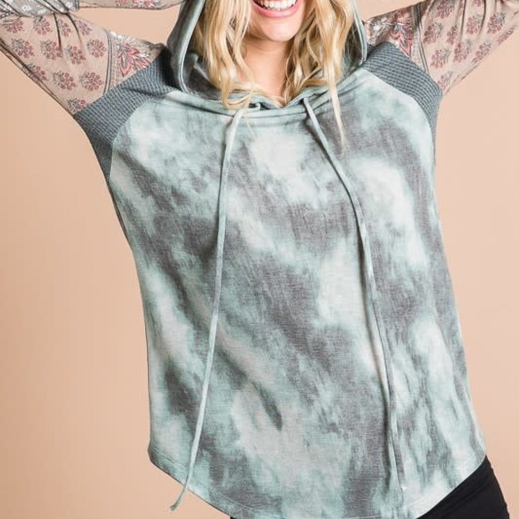 7th Ray Olive Tie Dye Hoodie (S-XL)
