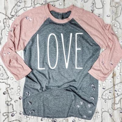 Next Level Apparel Pink & Grey LOVE Raglan (XS-2XL)