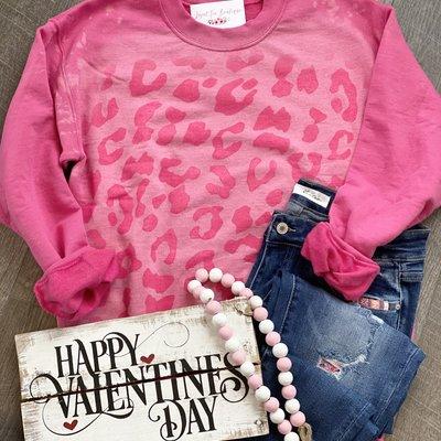 Gildan Pink Bleached Leopard Crew Sweatshirt (2XL & 3XL Only)