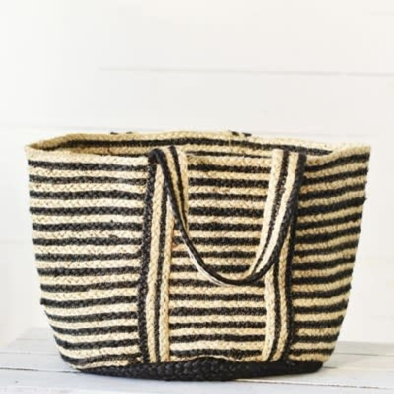Pd Home & Garden Black Stripe Jute Bag