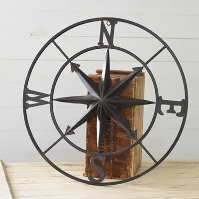 "Pd Home & Garden 30"" Black Metal Compass"