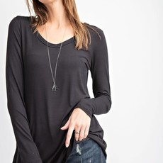 Rae Mode Black V-Neck Long Sleeve Basic Top (S-3XL)