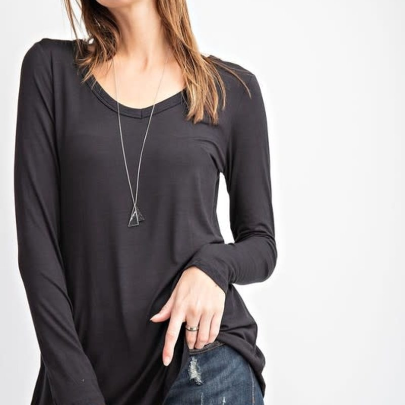 Rae Mode Black V-Neck Long Sleeve Basic Top (S-3XL)