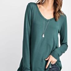 Rae Mode Hunter Green V-Neck Long Sleeve Basic Top (S-3XL)