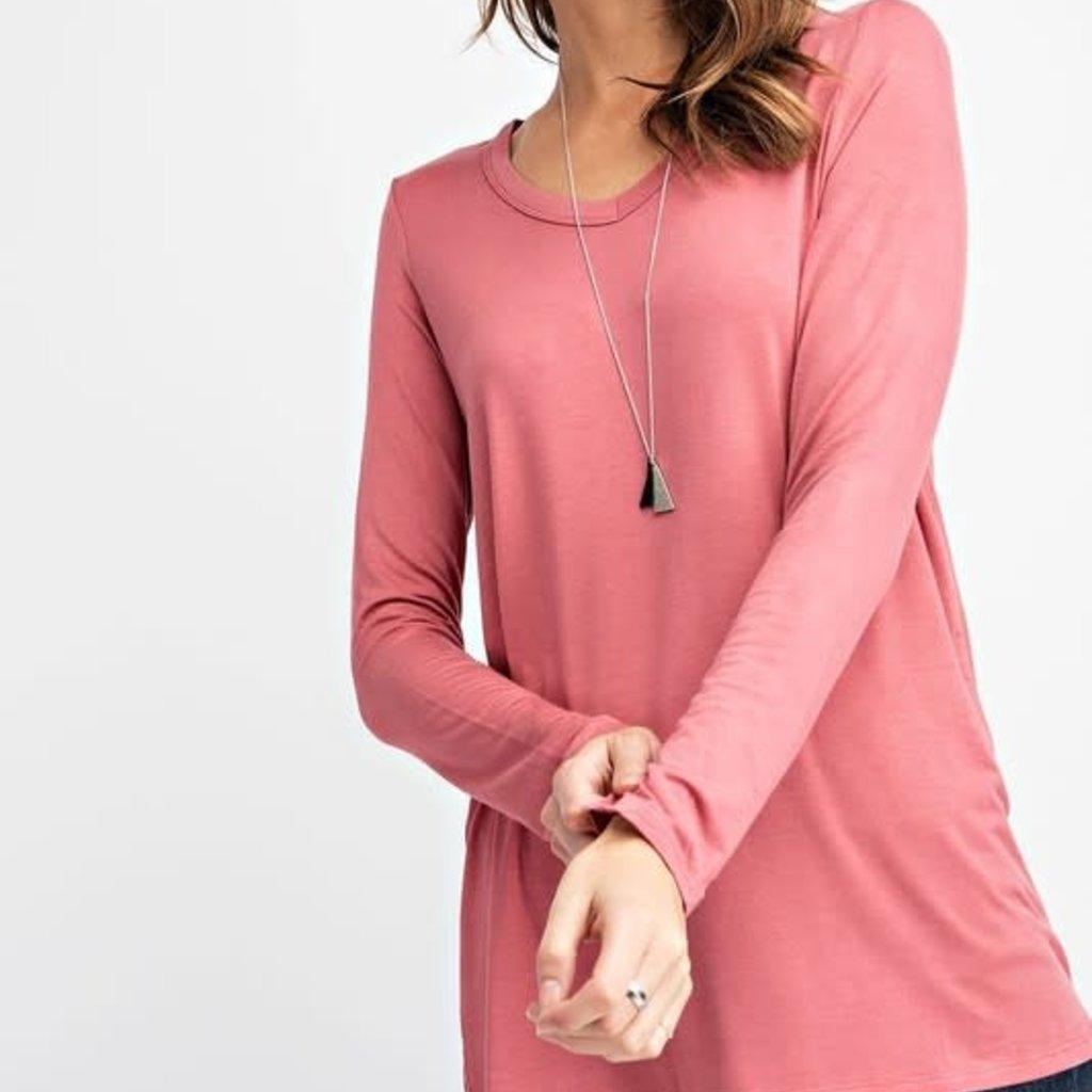 Rae Mode Light Marsala V-Neck Long Sleeve Basic Top (S-3XL)