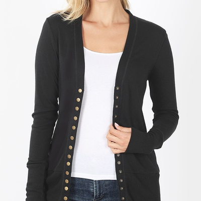 Zenana Black Snap Cardigan (S-XL)