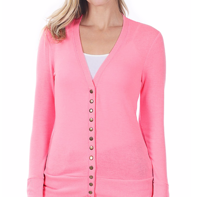 Zenana Hot Pink Snap Cardigan (S-3XL)