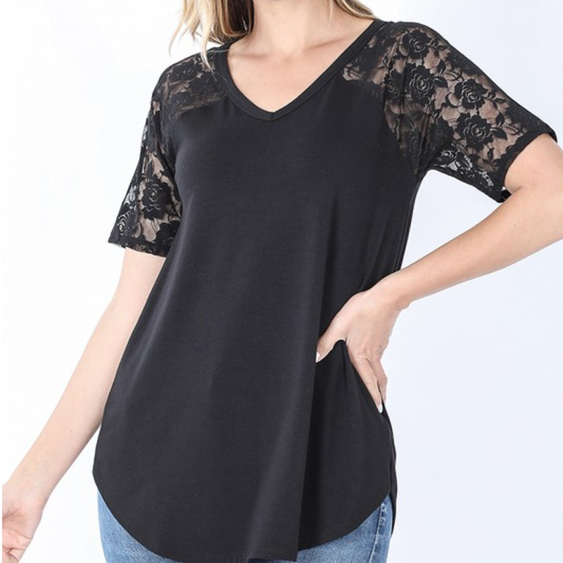 Zenana Black Lace V-Neck Tee (S-3XL)