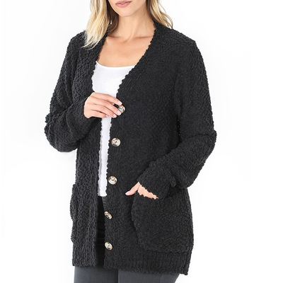 Zenana Black Popcorn Button Up Cardigan (S-3XL)