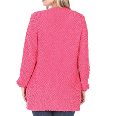Zenana Hot Pink Popcorn Button Up Cardigan (S-3XL)