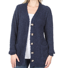 Zenana Navy Popcorn Button Up Cardigan (S-XL)