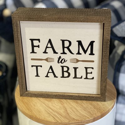 Driftless Studios 6x6 Farm to Table  Sign